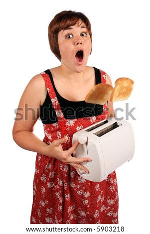 Girl with out of control toaster - stock photo