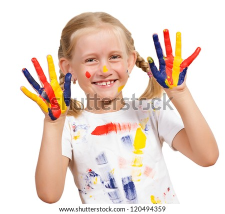girl with painted hands, draw hands, isolated on white background - stock photo