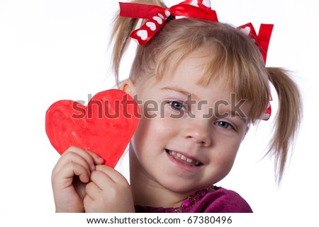 Girl with paper drawn heart