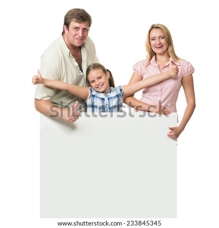 Girl with parents gestures indicate that all is well. Isolated on white background.