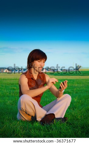 Girl with PDA - stock photo