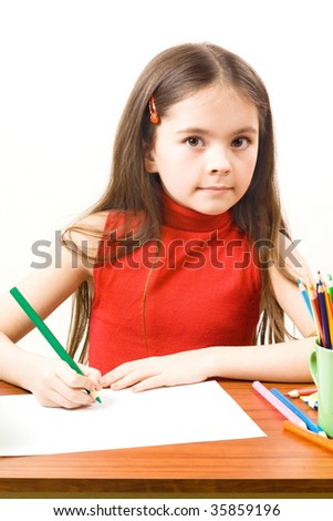 Girl with pencils - stock photo