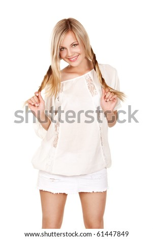 Girl with pigtails over isolated white background