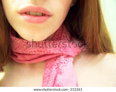 girl with pink bandana - stock photo