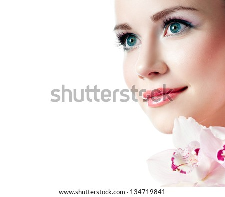 girl with pink orchid - stock photo
