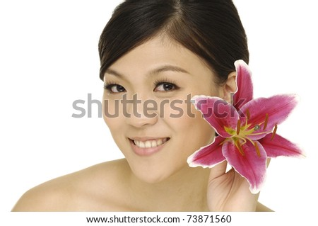Girl with pink tiger lily