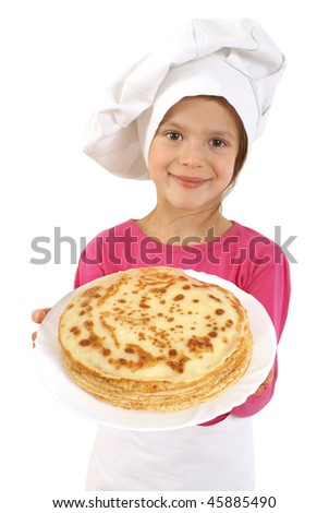 Girl with plate of Pancakes - stock photo
