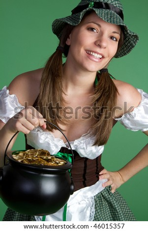 Girl With Pot of Gold - stock photo