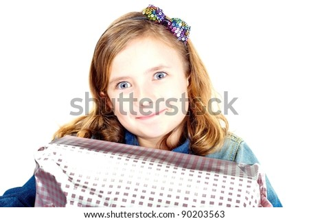 Girl with present - stock photo
