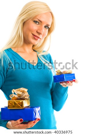 girl with present box in hand