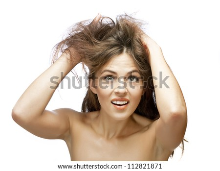 girl with problems of her hair - stock photo
