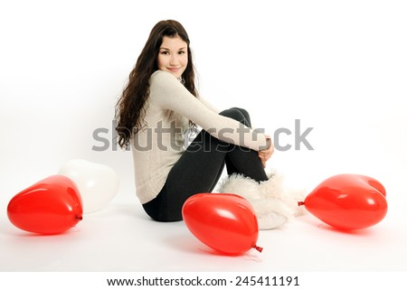 girl with red balloons - stock photo