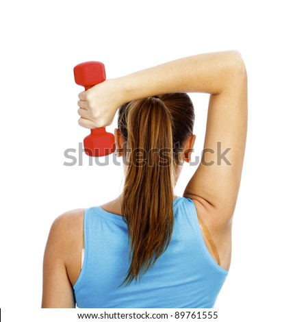 Girl with red barbell