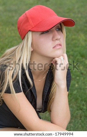 girl with red baseball cap - stock photo