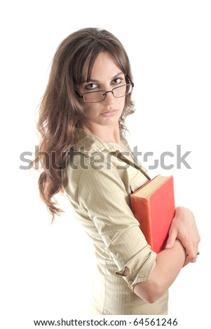 Girl with red book and glasses isolated on white. School, library and science concept