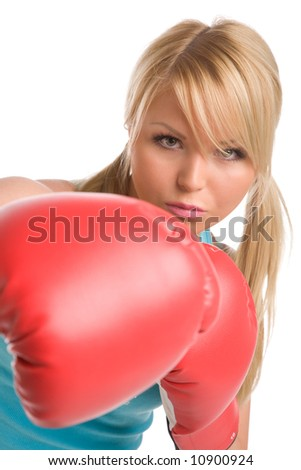 girl with red boxing gloves on a white background - stock photo