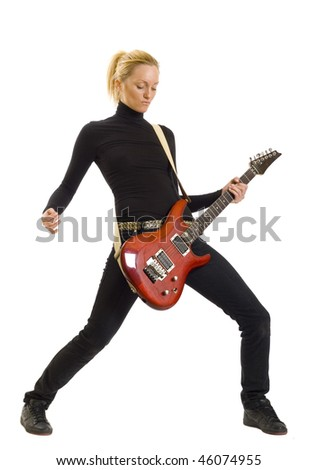 girl with red electric guitar over white - stock photo