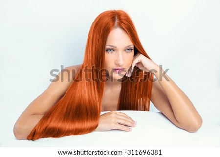 girl with red hair. - stock photo