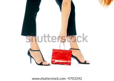 girl with red handbag over white - stock photo