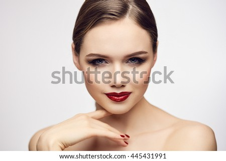 Girl with red lips looking foxy