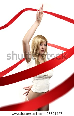 girl With red satin ribbon - stock photo