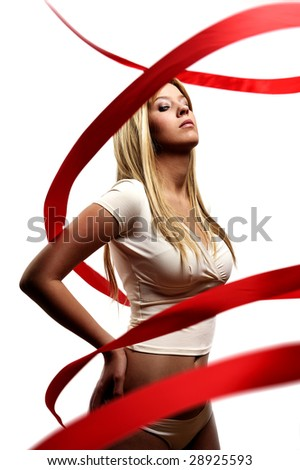 girl with red satin ribbon