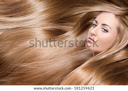 girl with red shining hair - stock photo