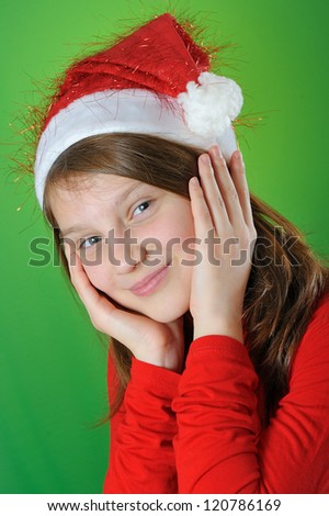 girl with Santa Claus Hat - stock photo