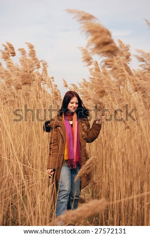girl with scarf in cane field, photo 2
