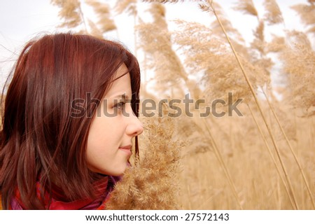 girl with scarf in cane field, photo 6