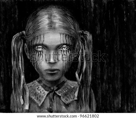 Girl with shining eyes. Dark fantasy. Horror. Monochrome watercolor painting. - stock photo