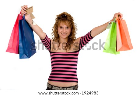girl with shopping bags over white