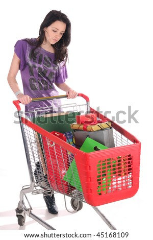 girl with shopping cart over white background