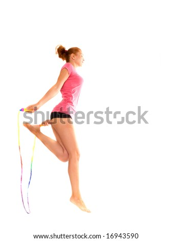 girl with  skipping rope. Isolation on the white - stock photo