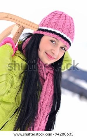 girl with sledge - stock photo