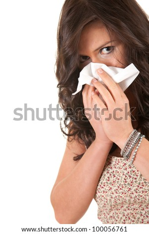 girl with snotty, runny nose and handkerchief, white background