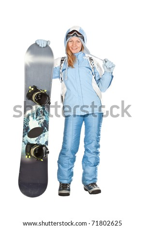 Girl with snowboard in studio on isolated background. - stock photo