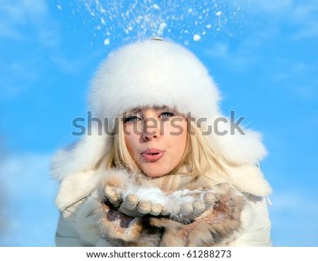 girl with snowflake - stock photo