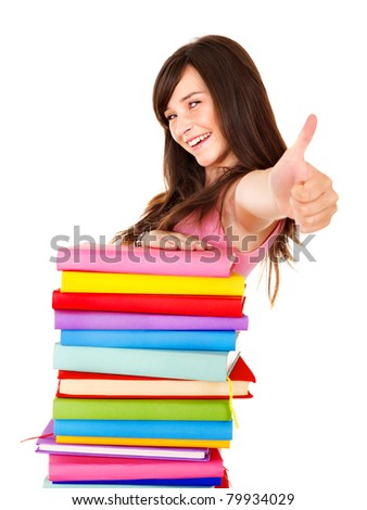 Girl with stack book showing thumb up. Isolated.