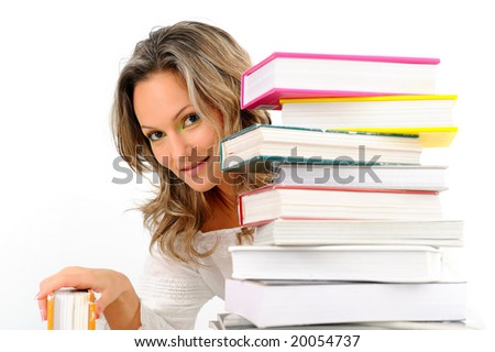 girl with stack of books against white background