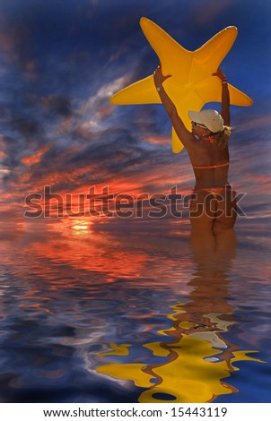 Girl with star in Sunset