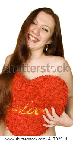 Girl with stuffed heart - stock photo