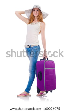 Girl with suitcases isolated on white