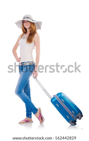Girl with suitcases isolated on white - stock photo