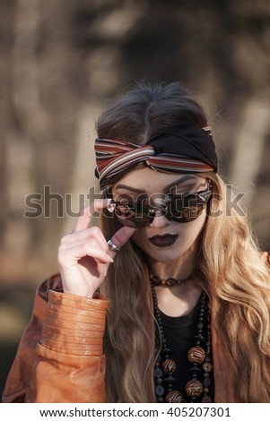 girl with sunglasses - stock photo