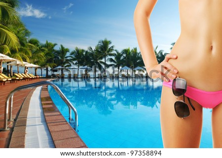Girl with sunglasses at tropical swimming pool. Collage. - stock photo