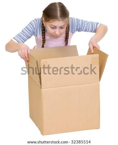 Girl with surprise glance at cardboard box