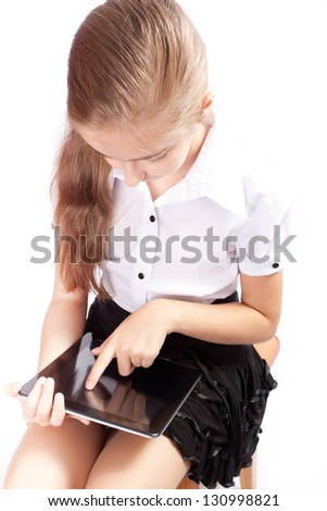 Girl with tablet gadget isolated white background - stock photo