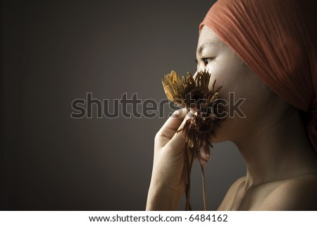 girl with tears drop from eye - stock photo