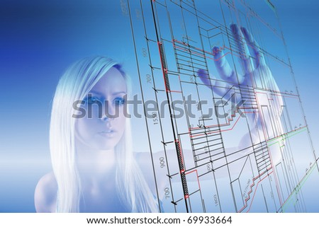 Girl with technical drawing screen - stock photo